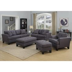 Good Porter Norwich Charcoal Grey Living Room Set With 4 Throw Pillows