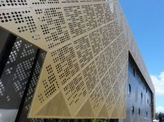 CUTOUT laser cut screens. Waurn Ponds Library and Community Hub - Geelong in Victoria. powder coated Mild Steel laser cut panels. Shortlisted for Colorbond architectural steel award