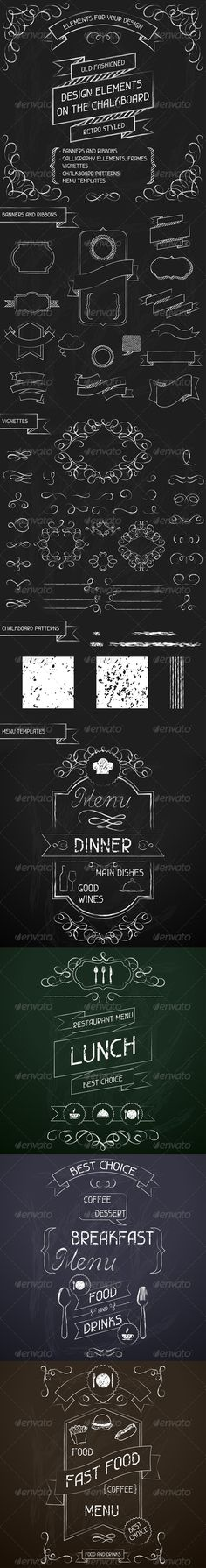 Design Elements on the Chalkboard - Decorative Symbols Decorative/a chalkboard background could be appropriate for one or more poems