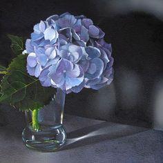 "Daily Paintworks - ""Hydrangea  6x6"" - Original Fine Art for Sale - © M Collier"
