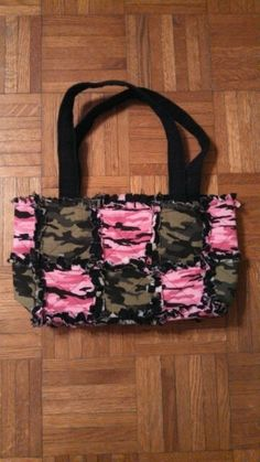 handmade pink and green camo rag quilt by Karenskreations2011, $25.00