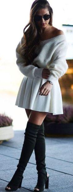 otk boots / thigh high boots / open toe / skater skirt / sweater