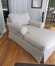 Cotton twill slipcover custom-fit for this casual comfy chaise lounge. It looks : chaise slipcovers - Sectionals, Sofas & Couches