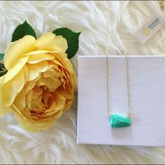 """Kendra Scott Isla Mint Necklace A glossy, faceted stone swings asymmetrically from this trendy gold-plated necklace. 18"""" length; 2"""" extender; 7/8""""W x 1/2""""L pendant. 14k-gold plate/opal, magnesite or glass. Lobster clasp closure. Kendra Scott Jewelry Necklaces"""