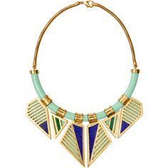 A Peace Treaty Women's Ohoyo Mint Bib Necklace - Gold ($319) ❤ liked on Polyvore featuring jewelry, necklaces, gold, 24k gold jewellery, 24k gold necklace, yellow gold necklace, bib necklace and mint jewelry