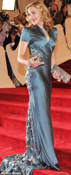 This may be the first time I've actually liked what Madonna is wearing - Slate Blue Silk dress by Stella McCartney