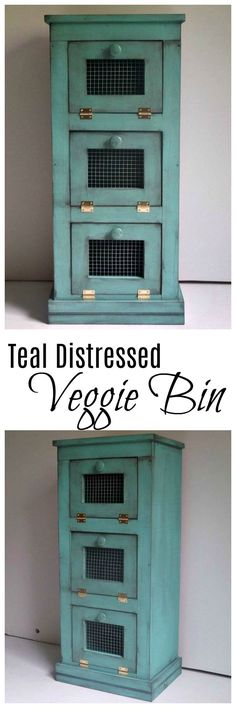 Handmade teal distressed wood onion and potato bin for farmhouse styles. This kitchen storage bin is adorable! Country Farmhouse Decor, Farmhouse Design, Farmhouse Style, Kitchen Redo, Kitchen Storage, Hub Home, Storage Bins, Onion Storage, Storage Solutions