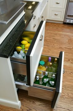 Trish Namm - eclectic - kitchen - new york - Trish Namm, Allied ASID - Kent Kitchen Works Fridge Drawers, Kitchen Drawers, Kitchen Storage, Fridge Shelves, Under Counter Fridge, Kitchen New York, Kitchen Words, Eclectic Kitchen, In Vino Veritas