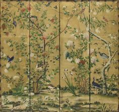 A Chinese Export hand-painted paper four-fold floor screen 19th century