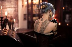grey hair, gorgeous tattoos