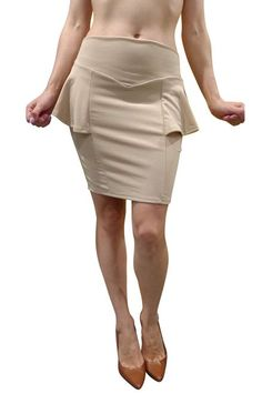 Mocha Brown Peplum Pencil Skirt from CHOCOLATE USA!