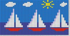 Tricksy Knitter Charts: sailboats 2 by SM Intarsia Knitting, Knitting Charts, Knitting Stitches, Cross Stitching, Cross Stitch Embroidery, Cross Stitch Patterns, Cross Stitch Bookmarks, Cross Stitch Baby, Crochet Pixel
