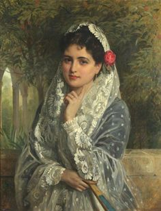 Lady in a white lace mantilla - John Bagnold Burgess (English,1829-1897)