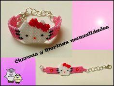 Churras and Merinas Crafts: Hello Kitty Miyuki bracelet tutorial - Seed Bead Patterns, Beading Patterns, Seed Bead Jewelry Tutorials, Hello Kitty Crafts, Beading Techniques, Beaded Animals, Beaded Bags, Beaded Ornaments, Beading Projects