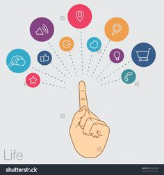 Hand Keeps Mobile With Set Icons. Demonstration Touch Screen Of Display For Market. Internet Trend And Social Network In Touch Smartphone. Vector Flat Illustration Of Cloud Service And Technology - 397449040 : Shutterstock
