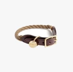 Individual Medley | Sea Rope Dog Collar in Natural |  Nothing ages more beautifully than this marine-grade rope and leather collar with an individually-numbered, stamped brass FOUND tag. Handcrafted in Brooklyn, NY by Found My Animal.       All hardware is 100% solid brass.