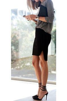 loose top w/ pencil skirt