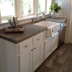 Love open airy spaces...and also clients that like concrete countertops.