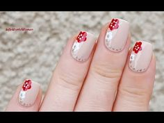 DOTTING TOOL & TOOTHPICK NAIL ART: Red & White Flower Nails - YouTube