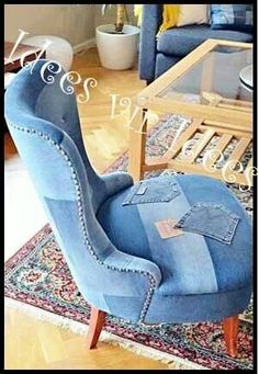 Chair covered in jean material