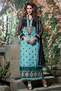 Look elegant with Blue and Black Faux Georgette and Net Salwar Kameez Shop now http://zohraa.com/blue-faux-georgette-salwar-kameez-z1473p8001-16.html sku : 56761  Offer price Rs. 2,049 #salwarkameez #salwarsuits #suits #suitonline