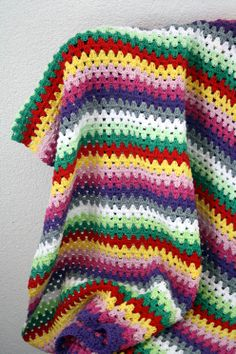 Granny stripe blanket - in cotton it would be like a thermal blanket.  A good stash buster