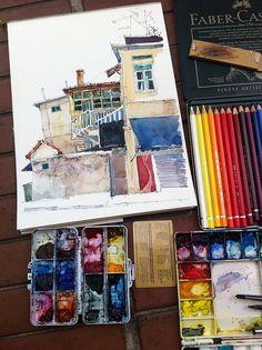 Sketchbook. Painting at Mackenzie Road by PaulArtSG.   On site; shows works in progress.