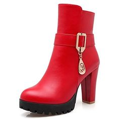 Women's Zipper High-Heels Pu Solid Low-Top Boots *** You can find more details by visiting the image link. (This is an affiliate link) #MidCalf