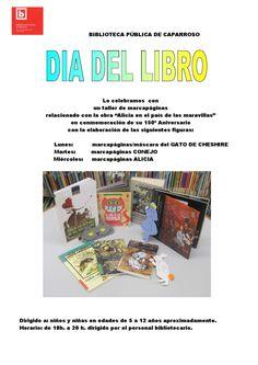 """Cartel actividad de marcapáginas """"Alicia en el país de las maravillas""""  Biblioteca Pública de Caparroso"""