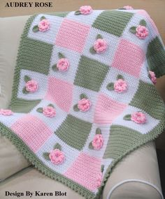 VICTORIAN 'AUDREY ROSE' Baby Crochet Afghan PATTERN 3-D