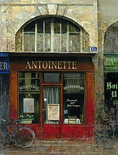Art In Motion Antique Shops, Vintage Shops, Paris Country, Storefront Signs, Shop Facade, City Sketch, French Paintings, French Cafe, Coffee Shop Design