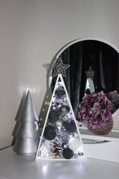 Silver Christmas Tree, Unique Christmas Trees, Handmade Christmas Tree, Wooden Christmas Trees, Wooden Tree, Shabby Chic Christmas, Christmas Home, Christmas Tree Ornaments, Holiday Centerpieces