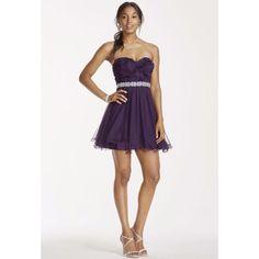 David'S Bridal Dark Plum Purple Short Dress