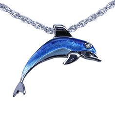 "Guy Harvey Enameled Porpoise Pendant Sterling Silver with an 18"" Adjustable Chain Necklace. Dolphin * Find out more about the great product at the image link."