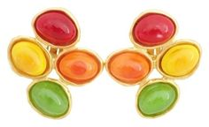 Chanel CHANEL Vintage 93P Poured Glass Clip-On Earrings Multicolor Goldtone
