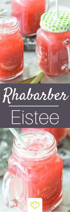 Erfrischender Rhabarber-Ingwer-Eistee All rhubarb - including the drink. This time, instead of peach or lemon, the sweet and sour sticks flavor the cool iced tea made from rose hip and hibiscus. Best Smoothie, Smoothies, Smoothie Detox, Smoothie Drinks, Detox Drinks, Smoothie Recipes, Healthy Juice Recipes, Healthy Juices, Healthy Eating Tips