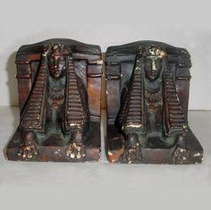 Vintage Art Deco Egyptian Revival Chalkware Bookends | AestheticsAndOldLace - Accessories on ArtFire