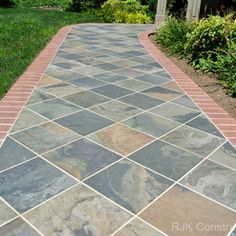 front entry with diagonal flagstone - Google Search