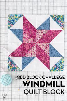 RBD Block Challenge; Block 6, Windmill Quilt Block Quilting For Beginners, Quilting Tutorials, Quilting Ideas, Quilt Block Patterns, Pattern Blocks, Polka Dot Chair, Star Quilt Blocks, Cute Quilts, Windmill