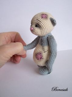 Miniature Thread Artist Crochet Teddy Bear/ Elephant by BayouBears ...