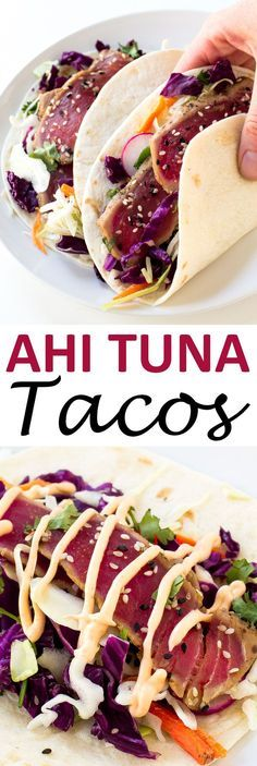 Ahi Tuna Tacos loaded with cabbage, cilantro, radishes and topped with a spicy…