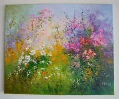 Meadow Original Oil Painting IMPASTO Wild Flowers Impression Europe Artist Wiese #Impressionism