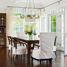 Love this idea to cover our french doors in living room from dreadful sun Sliding Pantry Doors, French Doors Patio, French Windows, Dining Room Design, Dining Rooms, Dining Area, Fine Dining, House Of Turquoise, Best Dining