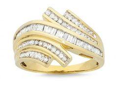 Gemstones: Diamond Birthstones: April 9ct Yellow Gold 0.50ct Diamonds Ring Baguette Channel set 4 Ro...Price - $7.68 per week over 52 weeks. - AUdp6GDV
