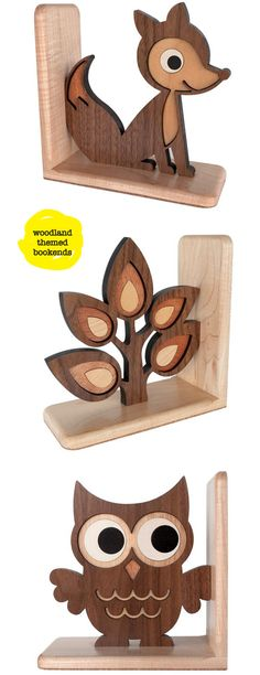 Lovely Woodland theme wooden Bookends - great for the little/ young bookworms!  ♥≻★≺♥