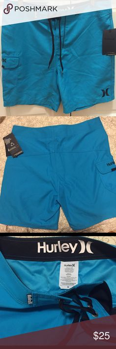 """Hurley Boardshort New with tags! Hurley men's One and Only 19"""" boardshorts. Made from a lightweight, recycled supersuede. Side pocket with Velcro flap and EZ fly closure. Size 32. Hurley Swim Board Shorts"""
