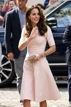 The Duchess of Cambridge, 34, arrives at Truro Cathedral in a pale pink dress by high end US designer Lela Rose