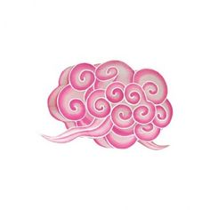 Petit lampion nuage rose- embroider this - chinese cloud