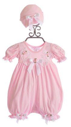 Katie Rose Baby Romper Pink LuLu with Cap $68.00