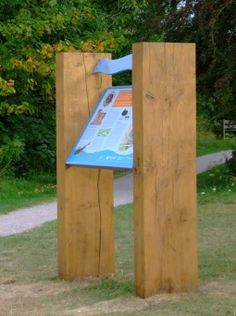 River Anton Lectern signage with chunky timber posts #lectern #interpretation